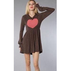 WILDFOX Long Sleeved Heart Mini Dress